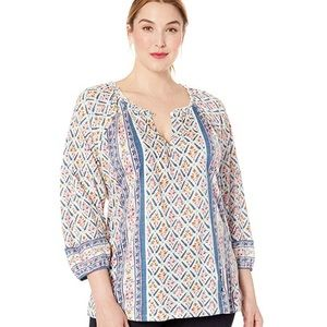 Lucky Brand Plus Size Printed/Stirred Top